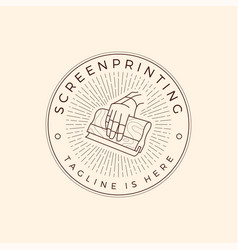 Screen printing silk screenprinting logo emblem vector