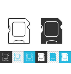 sd card simple black line icon vector image