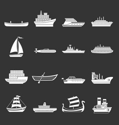 Sea transport icons set grey vector