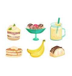 Set banana desserts and drinks vector