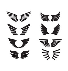 set black wings and outline icon vector image