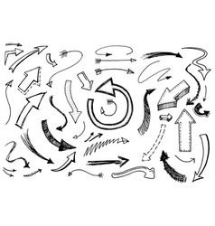 set of arrow and pointer doodle style collection vector image