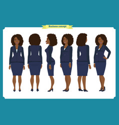Set of black businesswoman character design vector