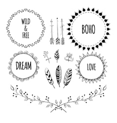 Set of Boho Style Frames and hand drawn elements vector