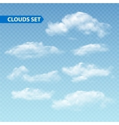Set of transparent different clouds vector image