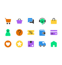 Set online shopping solid icons vector