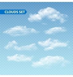 Set transparent different clouds vector