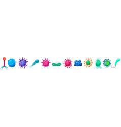 set viruses bacterias germs microorganisms disease vector image