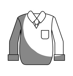 Silhouette shirt with tie and vest of wool cloth vector