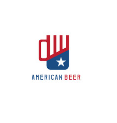 simple with beer mug and american flag symbols vector image
