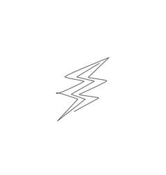 single continuous line drawing light thunder vector image