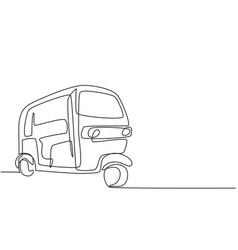 Single continuous line drawing rickshaw vector