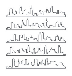 skyline city building line of town outline urban vector image