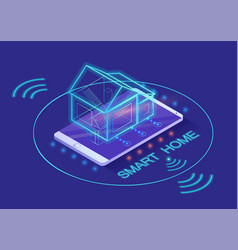 Smart home building controlled smartphone 3d vector