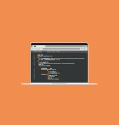 software source programming code on laptop screen vector image