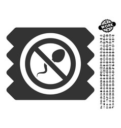 Spermicide condom icon with people bonus vector