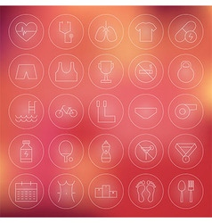 Sport and Healthy Lifestyle Circle Line Icons Set vector image