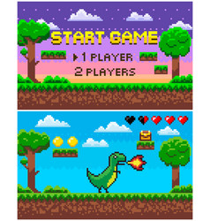 start game dinosaur with fire pixel character vector image