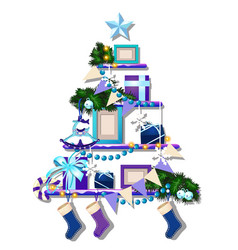 stylized shelf with christmas decorations cute vector image