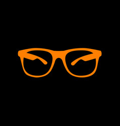 Sunglasses sign orange icon on black vector