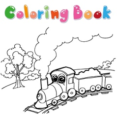 train cartoon coloring book vector image