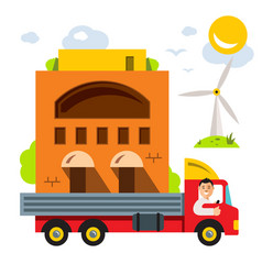 transporting portable homes flat style vector image