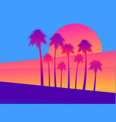 Tropical palm trees on a sunset background a vector
