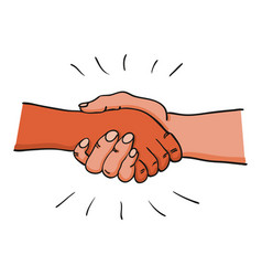 two adult hands performing a handshake after vector image