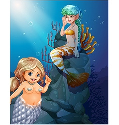 Two mermaids under the sea vector
