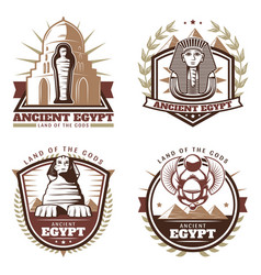 Vintage colored ancient egypt emblems set vector
