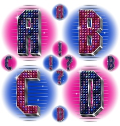 Volume letters ABCD with shiny rhinestones vector image