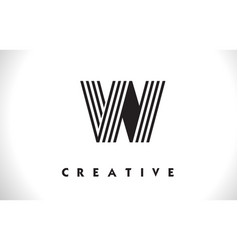 W logo letter with black lines design line letter vector