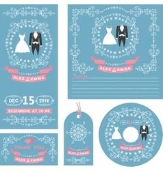 Wedding invitations setWinter decor with dresses vector image