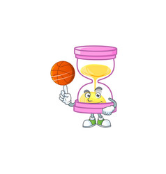 With basketball cartoon sandglass with character vector