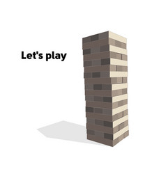 Wooden tower game flat vector