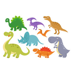 cute cartoon dinosaurs clip art funny dino vector image vector image