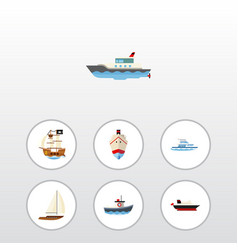 flat icon boat set of boat delivery yacht and vector image vector image