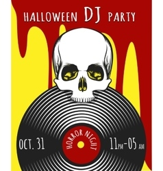 Halloween DJ Party Poster vector image