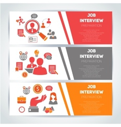 Job interview flat banner set vector image vector image