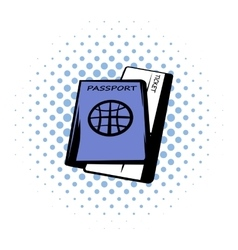 Passport with tickets comics icon vector image