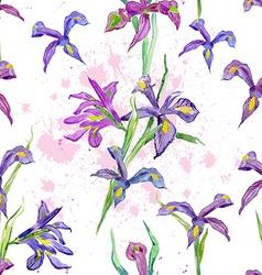 seamless texture watercolor flowers iris vector image vector image