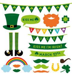 St Patricks Day design elements set vector image