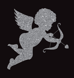 golden angel silhouette on black background cupid vector image