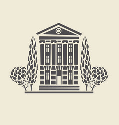 icon of two-storey old building with trees vector image vector image