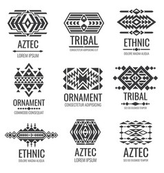 Mexican aztec symbols vintage tribal vector
