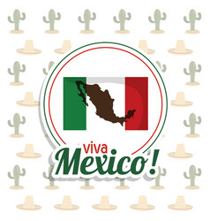 viva mexico invitation flag map party vector image