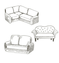 a set of pieces of furniture on a white vector image vector image