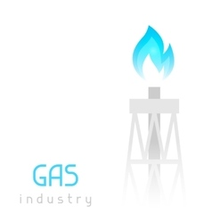 Gas rig drilling equipment with flame Industrial vector image