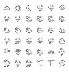 meteorology symbols and weather thin line vector image vector image