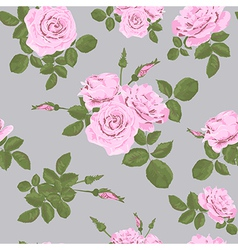 Rose seamless pattern on grey background vector image vector image